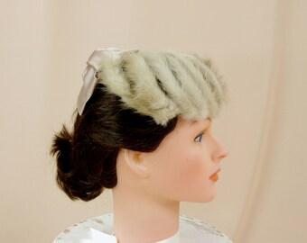 50s Fur Hat, 1950s Hat, Fur Fascinator, Beige Satin Bow Hat, Formal Hat, Pillbox Hat, Wedding Hat, Church Hat