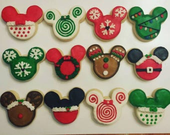 1 Dozen - 2x2 Mouse Christmas Cookies
