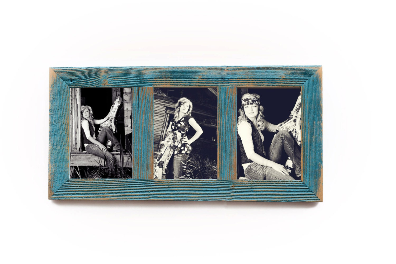 3 hole 8x10 barnwood vertical collage picture frame ocean blue 7995 jeuxipadfo Images