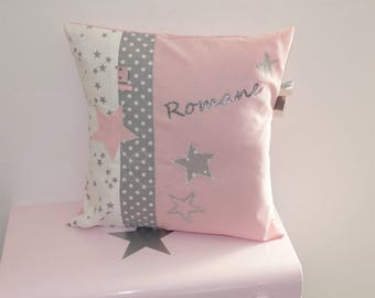 Cushion personalized Stardust in pink and grey 40 x 40 cm to order