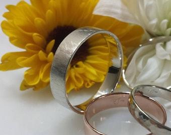 14kt white gold wedding band 4mm 4.5mm 5mm 6mm Flat top comfort fit matte brushed comfortable lightweight thin slim wedding ring
