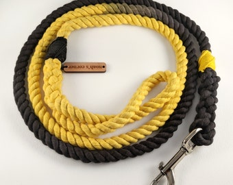 Rope Dog Leash - Cotton - Black & Yellow