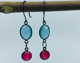 Blue aqua chalcedony and pink drop earrings with oxidized silver