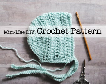 Crochet Pattern, Bonnet Pattern, Crochet Bonnet Pattern, Baby Bonnet Pattern, Crochet Baby Bonnet Pattern, Crochet Baby Hat Pattern
