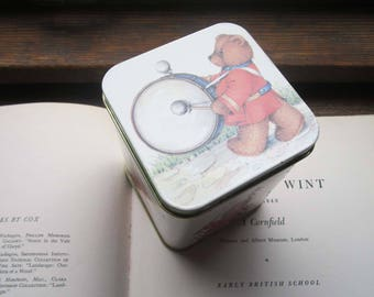 Vintage Tin Box ~ Made in England ~ The Teddy Bear Family Tin Box ~ Hinged 1980's Tin Container~ Vintage Kids Adults Alike ~ Gifts ~ Toys