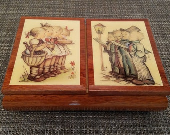 Beautiful! Vintage Goebel Hummel Music/Jewelry Box Wood with Double Lid in Great Condition!