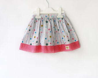 Dancing Bubble Girl's skirt, Blue and Pink skirt, toddler skirt, baby skirt, polka dot skirt