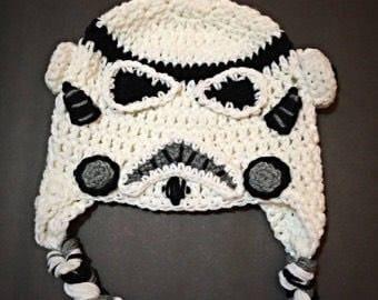 Crocheted stormtrooper hat