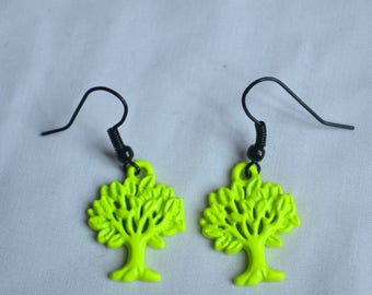 Neon Yellow Tree Earrings