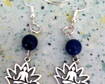 lotus yogi lapis lazuli earrings