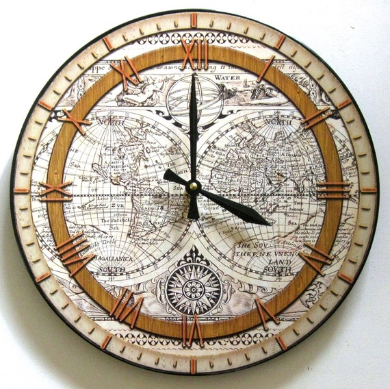 Wall clock map clock ancient world map world map vinyl map clock ancient world map world map vinyl gumiabroncs Gallery
