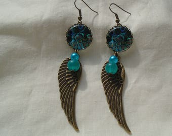 Earrings feather of peacok