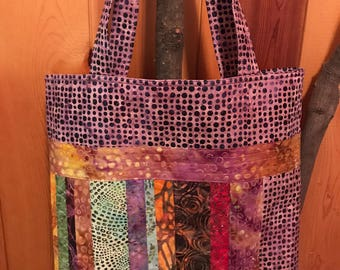 Quilted Batik Tote, Quilted Shopping Bag, Market Tote, Grocery Bag