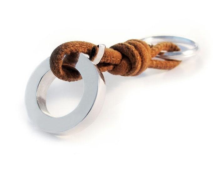 Llavero con Círculo o Donut de Plata y Cuero/Grabado nombre/RONDANA/Regalo fin de curso