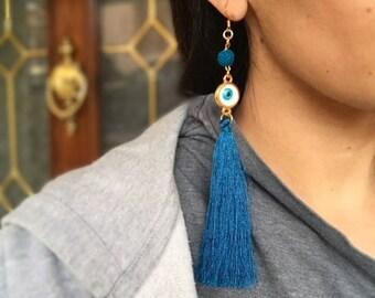 Evil Eye Earrings, Evil Eye Jewelry, Long Tassel Earrings, Greek Jewelry, Greek Earrings, Boho Earrings, Lava Beads, Protection Jewelry
