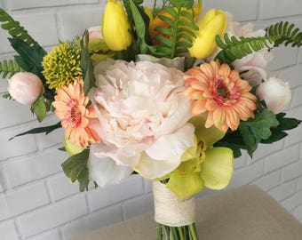 Handmade real looking peony, tulip and mixed silk flower wedding bouquet