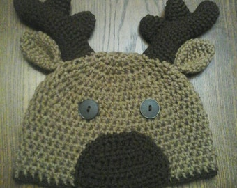 Deluxe Moose Hat for Baby, Child, Teen, or Adult, Winter Photo Prop, Woodland Creatures Beanie, Forest Animal Gifts for New Baby