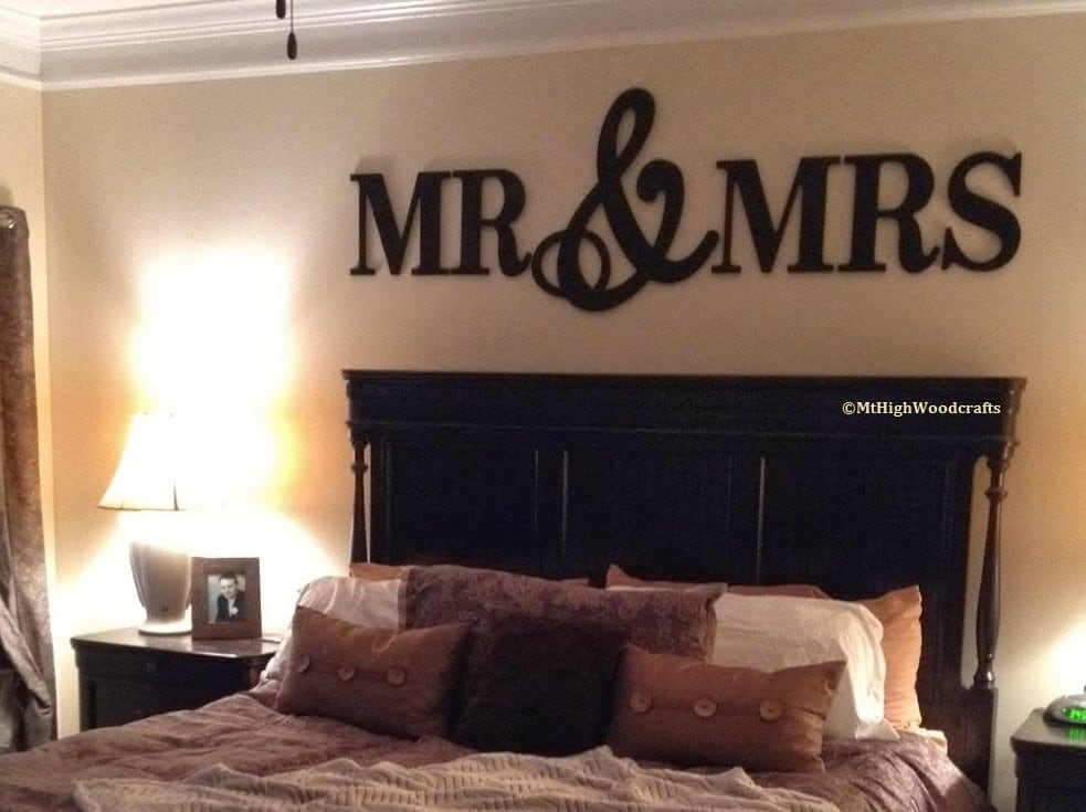 Letter On The Wall Decoration Fair Mr & Mrs Wood Letterswall Décorpainted Wood Letters Wall Decorating Inspiration