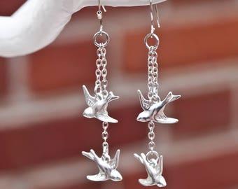 Flying Bird Dangle Earrings