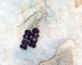 Amethyst Earrings,gemstone,jewelry, earrings,genuine,unique gift,amethyst,LewyDesigns,birthstone,gift for wife,handmade,unique,gifts,beaded