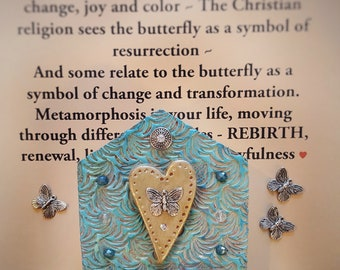 spiritual gift - butterfly wall hanging - prayer home decor - yoga gifts - butterfly wall hanging - spiritual art- rebirth -recovery gift