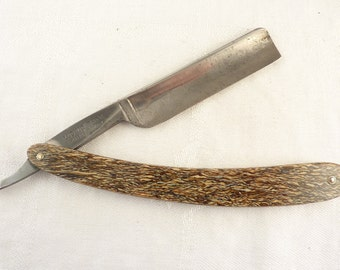 Vintage Beautiful Ludwig Bar Straight Razor from Bismarck Razor Works Solingen, Germany with Agate Speckled Brown and Tan Scale