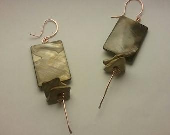 Rectangular Olive Shell Earrings