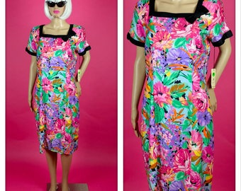 Vintage 1980s Bright and Colorful Floral Cocktail Dress