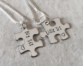 Personalized Big Sister Little Sister necklace set Big sister jewelry Pregnancy Motherhood Sorority Sister Jewelry Hand stamped metal work