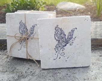 Birthday Gifts, Butterfly Coasters, Butterfly Birthday, Birthday Gift, Stone Coaster, Butterfly Decor, Plant Mom, Garden, Butterfly Garden