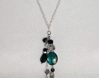 Black and Silver Tassel Opera Necklace