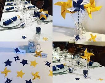 Navy & mustard yellow pinwheels