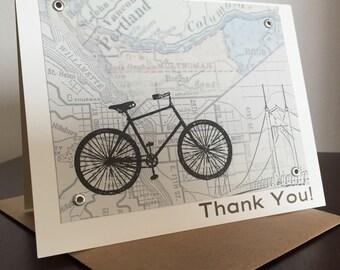 Portland Map and Bike - Screen-Printed Thank You Card
