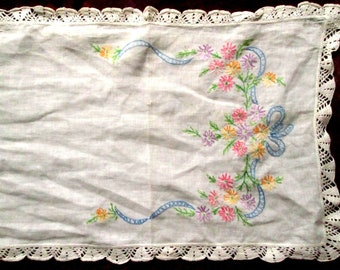 Hand Embroidered Runner with Flowers and Bow