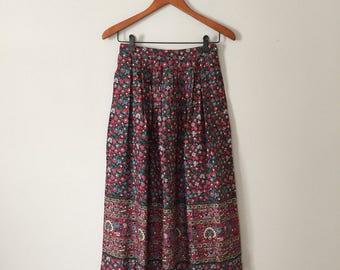 floral maxi skirt   woodland flowers skirt