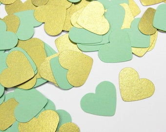 Mint and Gold Wedding Confetti - Mint Confetti Hearts - Shimmery Gold Table Confetti - Mint To Be - Mint Baby Shower Decorations