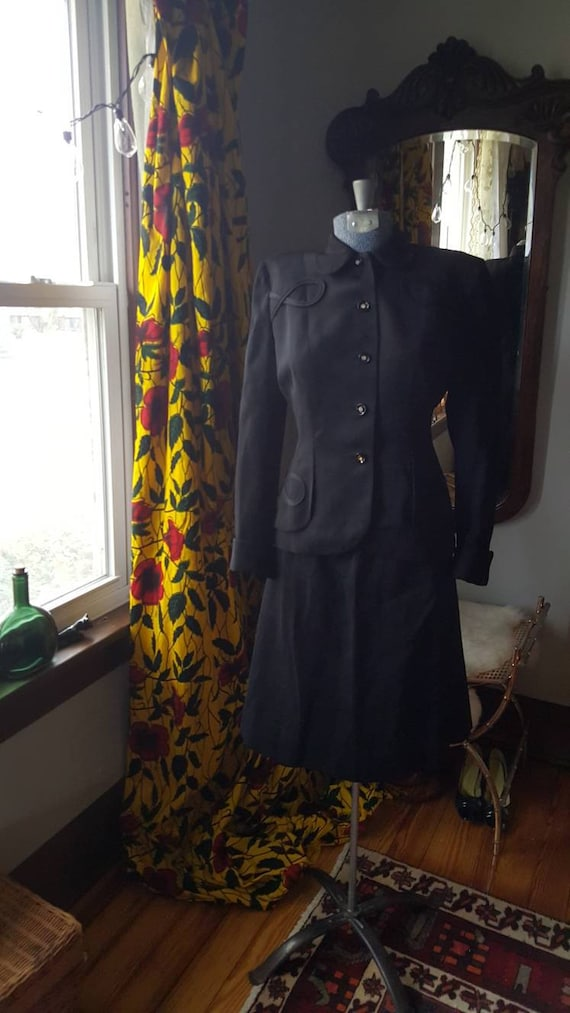 Skirt Black Soutache Jacket Medium Wiggle Dress 40's M Detailing 1940s Secretary Vintage Wasp WWII Suit 40s Waist Size and Wool qAOw0Bxw1W