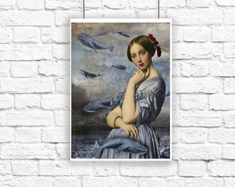 Large Whale Siren Nautical Portrait Blue Gray Poster Print Digital Art Surreal Home Decor Beach House Humpback Whale