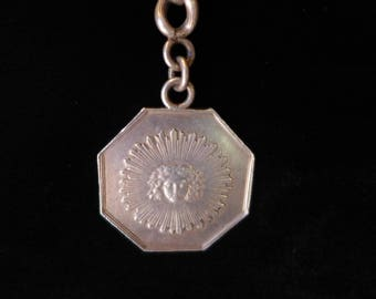 Antique French Sun Medallion Watch Chain Pendant Necklace