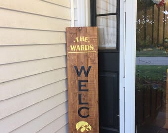 Personalized Welcome Sign, Sports Personalized Welcome Sign Front Porch, Personalized Welcome Sign Front Door, Wood Welcome Sign Custom