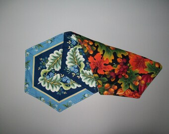 Small reversible table runner - fall leaf topper - quilted 60 degree angle - blue green gold orange red - piano topper