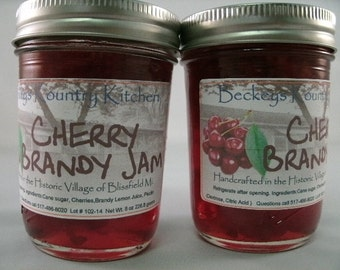 Two Jars of Cherry Brandy Jam Homemade by Beckeys Kountry Kitchen jam jelly preserves fruit spread nandcrafted artisan quality