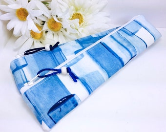 Modern Blue Slim Pencil Case, Markers Pouch, Skinny Zipper Pouch, Cute Zipper Pouch, Long Pencil Pouch, Back to School