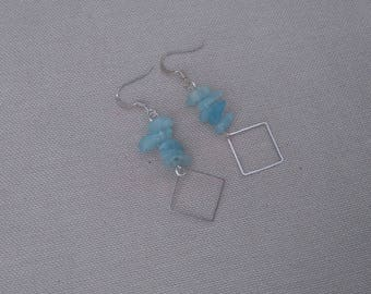 Gemstone earrings, aquamarine chips and square metal