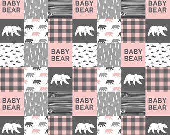 Girl Crib Bedding, Bear Baby Quilt, Woodland Baby Quilt, Plaid Patchwork Quilt, Minky Baby Blanket, Bear Nursery Blanket, Pink Grey Gray