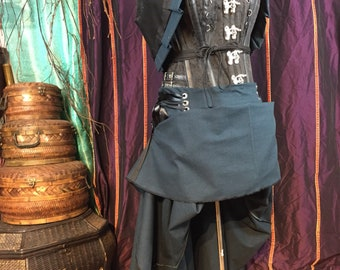 """Teal and black plaid hitcher skirt and bolero  22""""to 50"""" or 32""""-61"""" waist  33"""" long steampunk, cosplay, lolita"""