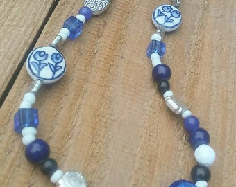 Botanical Jewelry, Bead Necklaces, Flower Necklaces, Long Necklace, Blue Necklace, Necklaces, Jewelry, Boho Necklace, Beaded Jewelry, Blue