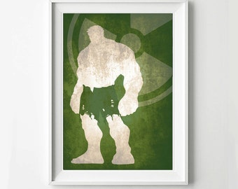 Hulk Avengers Poster - Movie poster, Minimalist print, Digital Art Print