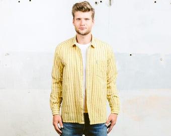 Atomic Print Shirt . Long Sleeve Shirt Southwestern Shirt 70s Yellow Shirt Vintage Shirt for Men  Ethnic Shirt . size Large
