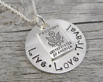 Ready to ship - Hand Stamped Jewelry - Personalized Jewelry - Live Love Travel Necklace - Sterling Silver Necklace - Passport Charm